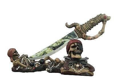 "14"" Long Deadly Skeleton Buccaneer Pirate's Treasure Display Knife with Stand"