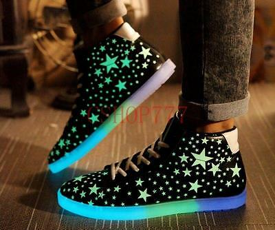 Stylish Mens Womens Unisex Light Sportswear Sneakers Lace Up Luminous Shoes Size