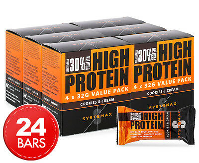 24 x Systemax High Protein Bars Cookies & Cream 32g