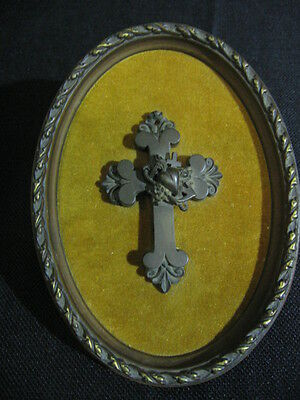 Very Scarce Mid-19th Century Gutta Percha Cross / Mourning Jewelry Very Detailed