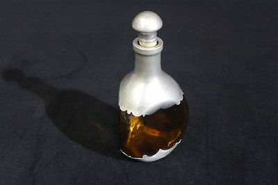 Dutch Amber Glass Stoppered Bottle with Hammered Pewter Finish