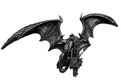 """20.5"""" Long Gothic Dragon Attacking Wall Mount Sculpture Hanging Figurine Fantasy"""