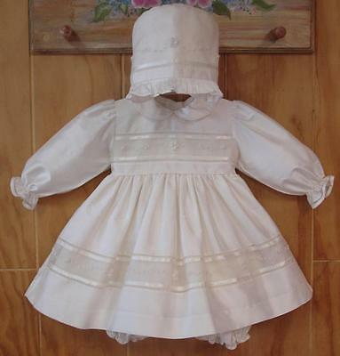 NWT Monelli Baby Girl's Silk Christening Baptism Gown Hand Embroidered 6 months