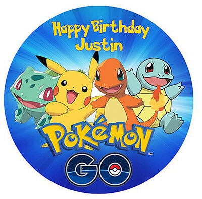 POKEMON GO Personalised Edible Wafer Paper Party Cake Decoration Topper Image