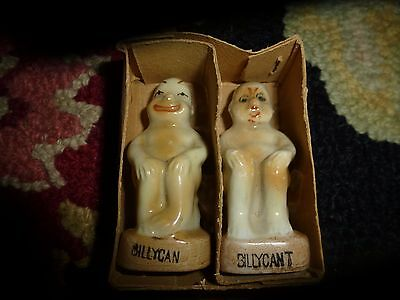 Vintage BILLYCAN BILLYCAN'T Made In Japan with BOX! Salt & Pepper Shakers Mint-
