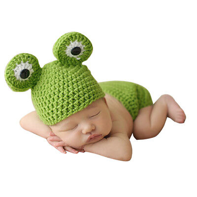 Newborn Baby Girls Boys Crochet Knit Frog Costume Photo Photography Prop Outfits