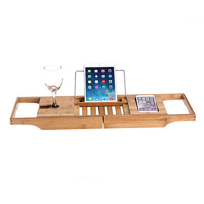 NEW Bathroom Bamboo Bath Caddy Tray Book Wine Glass & Phone Made By Natural Wood