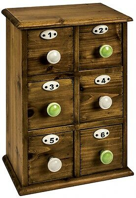 Small Vintage Wooden Mini 6 Drawer Cabinet / Numbers Storage Craft Chest