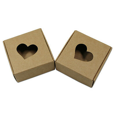 Jewelry Candy Boxes Kraft Paper Gifts Handmade Soap Packaging Boxes Heart Hollow