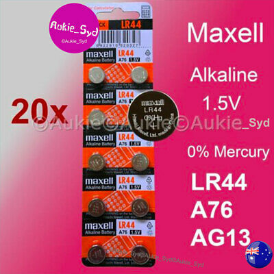 200 x LR44 Maxell 0%Hg A76/AG13 Genuine Battery 1.5V Alkaline Batteries Button