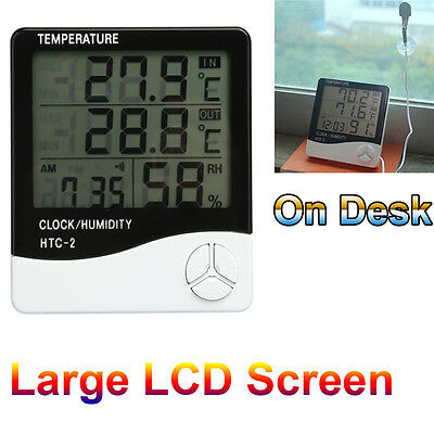 Digital Large LCD Humidity Hygrometer Temperature Thermometer Indoor Outdoor UK