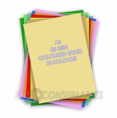 100 Sheets A3 Lasercol Premium Paper - Pastel Rainbow Coloured 80gsm Craft 84819