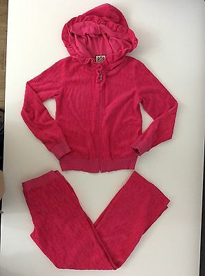 Juicy Couture Girls Terry Towel Tracksuit, Size Age 8 Pink Hoodie & Bottoms Vgc