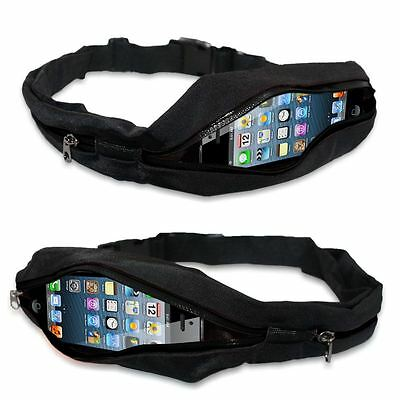 BLACK Cycling Gym Yoga Running Storage Belt SLIM With Zip Pocket UK