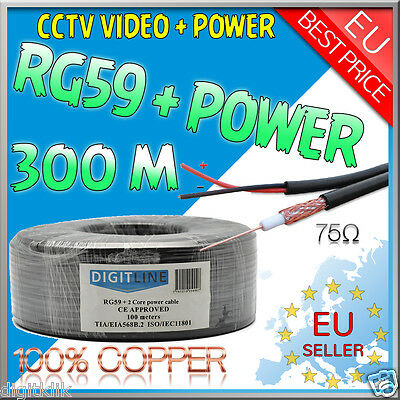 Cavo Coassiale Matassa RG59 300MT CU + Power CCTV Alta Qualità 100% rame