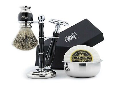 De Safety Razor & Pure Badger Brush Hand Made Men Shaving Set + Stand Bowl Soap