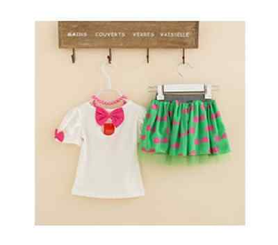 Girls Green and Pink Bow Tutu Skirt and Top. FREE shipping within the UK!