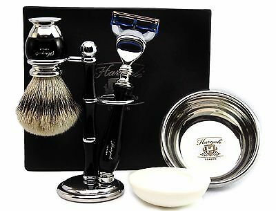 Silver Tip Badger Hair Brush & 5 Edge Blade Razor  Gift Set of 5 for Men Kit