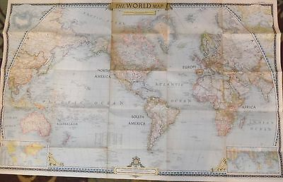 Vintage National Geographic The World Map 1951 Large Home Office Decor Retro