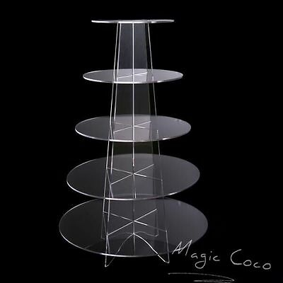 5 Tier Round Cupcake Stand  Dessert Tower Clear/Blue Acrylic Display Cake Stand