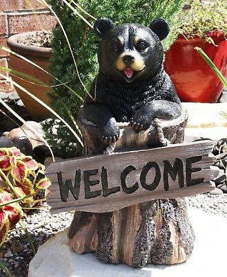 "13.5"" Tall Welcome Sign Black Bear In Tree Bark Decorative Figurine Statue"