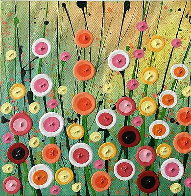 Abstract Mini Meadow acrylic painting by Derby artist Louise MacIntosh-Watson