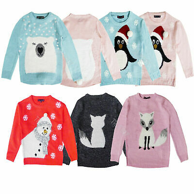 Girls 3D Penguin Polar Bear Fox Or Snowman Festive Christmas Jumpers Knitwear