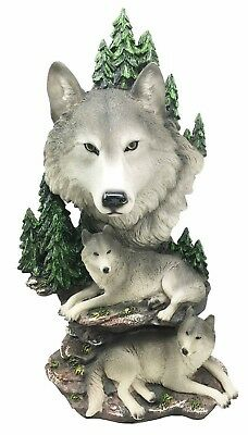 "13.25"" Height Mountain Grey Timber Wolf Family Pack Bust Decorative Figurine"