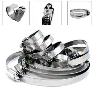 """10pcs 1/2""""-3/4"""" Adjustable Stainless Steel Drive Hose Clamps Fuel Line Worm Clip"""