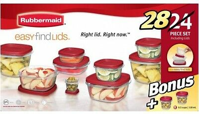Rubbermaid Easy Find Lids Food Storage Container Set 24-Piece plus 4-Piece Bonus