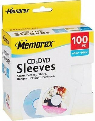 Memorex White CD/DVD Sleeves - 100 Pack FREE SHIPPING, NO TAX, NEW