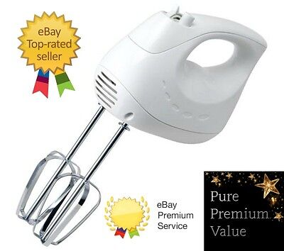 Hand Held Electric 5 Speed Hand Mixer Beater Whisk - White - Baking Kitchen Tool