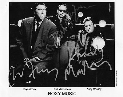 Authentic Signed Roxy Music Rare Official Promo Photo. Real Signatures Coa