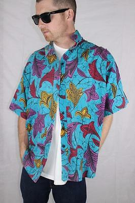Vintage 80s Indie Punk New Wave SURF ELECTRO BUTTON UP SHIRT XL Rad GNARLY
