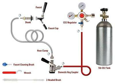 1 Tap Domestic Draft Beer Dispenser Kegerator Conversion Kit + 5lb CO2 Tank!