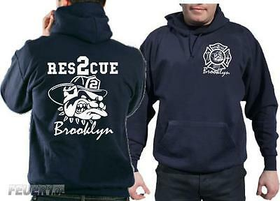Kapuzensweat navy, Rescue 2 Brooklyn with fighting bulldog in weiss