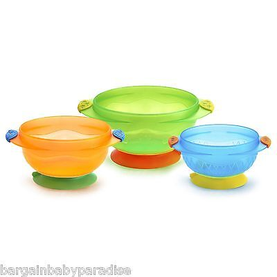 Munchkin Stay Put Suctions Bowls - Set of 3 Bowls - Prevents Spills