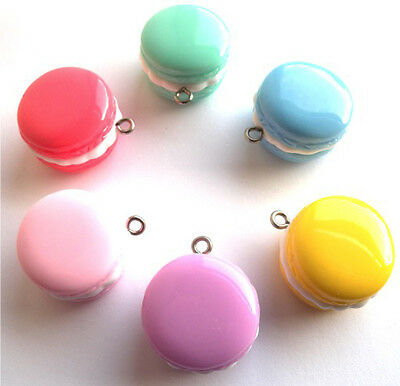 New!! 6 Gorgeous Macaroon Shiny Charms Pendants - Same Day Fast Free P&p