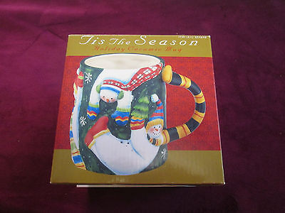 Tis The Season Holiday Ceramic Mug Snowmen In Original Box