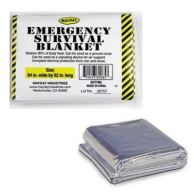 """Mayday Emergency Survival Blanket 84''x52"""" Military Solar Space Bag Kit Bug Out"""