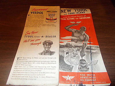 1940s Flying A New York Vintage Road Map / Nice Cover Art !!