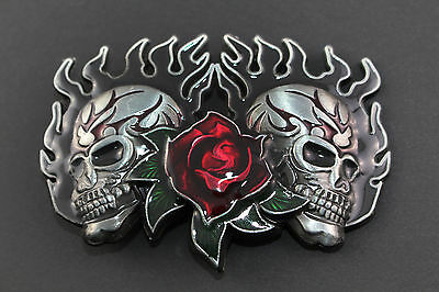 Twin Skulls With Red Rose Belt Buckle Metal Punk