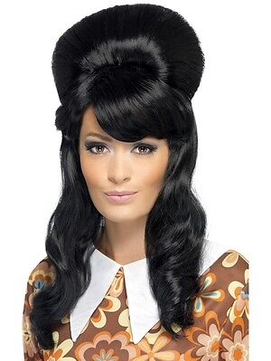New Adult Women Black 60's Brigitte Bouffant Wig Costume Accessory
