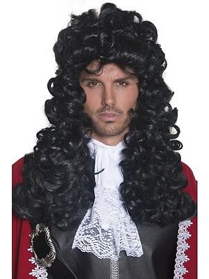Adult Mens Long And Curly Black Pirate Captain Wig Smiffys Pirate Fancy Dress