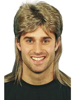Adult Mens Brown/blonde Highlights Mullet Wig Smiffys 1980's Fancy Dress