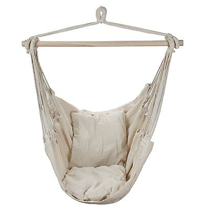 Swing Hanging Hammock Chair With Two Cushions (White) WHITE