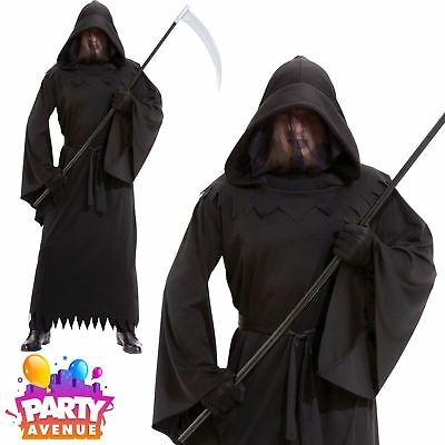 Mens Halloween Grim Reaper Phantom of Darkness Robe Fancy Dress Costume Adult