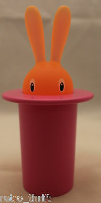 A Di Alessi Magic Bunny Top Hat Toothpick Holder Container Pink Orange Italy
