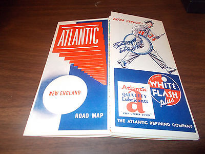 1940s Atlantic Oil New England Vintage Road Map /Near-MINT Condition !