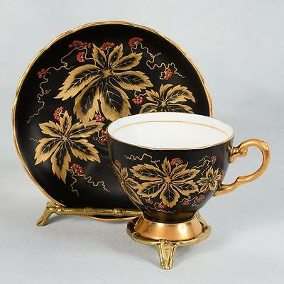 Beautiful Tuscan Bone China Teacup & Saucer  - Black With Gold Leaves